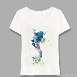 New Summer Cute Women t-shirt Colorful Koi Fish Watercolor T-Shirt Maiden Casual Tops Woman Novelty Tees Harajuku