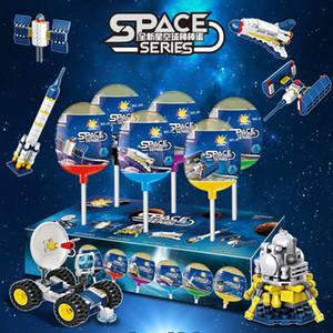 DIY pequeno bloco de construção de partículas gashapon espaço carro espaçonave foguete montado modelo espaço torcido ovo blocos de construção