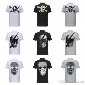 2019 summer mens designer t shirts Fashion men Short Sleeve POLO Clothing Casual Skull Hot drill Hip Hop Male High quality Tee 2C