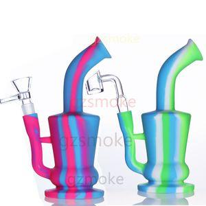 Tubos de silicona Bong agua sin extinción de impresión de silicona DAB plataforma de vidrio grueso pipas de agua Concentrado pipa de fumar de colores