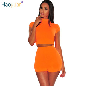 Haoyuan Neon Vert Orange Two Piece Set Femmes Crop Top et Biker Shorts Survêtement Sexy Club Tenues Vêtements d'été Assortiments