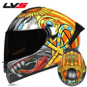 LVS Casque de moto Adulte Motocross Casques Intégraux Casco Moto Visière Double Moto Moto Casque Capacete approuvé DOT