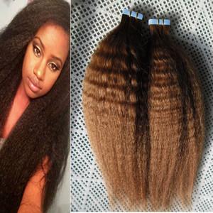 """Грубые яки лента в человеческих волосах 100% Real Remy 40Pcs курчавой прямой кожа Уток Human Double Hair клейкой лента 16"""" волос 18"""" 20"""""""