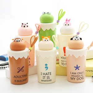 Cute 3D Animal Style Glass Water Bottle for Children Cartoon Leakproof 300ml Glass Bottle Six Style Available LZ0179