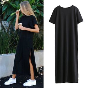 Autumn Basic Side High Slit Long T Shirt Women Sex Summer Dress Short Sleeves Black New Fashion Clothing