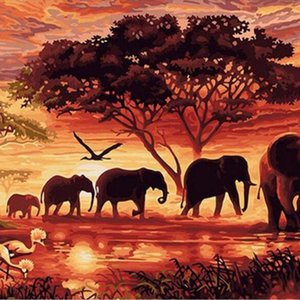Fashion Diamond Painting Africa Animal DIY Diamond Embroidery 5D Square Mosaic Full Pictures by Numbers Rhinestones Elephants