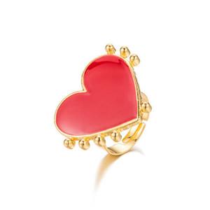 L'oro rosso del cuore di moda malocchio anelli registrabili per ragazze regalo delle donne femminile sveglio popolare malocchio cuore di amore di punk degli anelli di barretta
