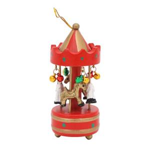 Деревянные Рождество Music Box висячие украшения Мини-карусель Рождественская елка Висячие Подвеска Xmas украшения для дома