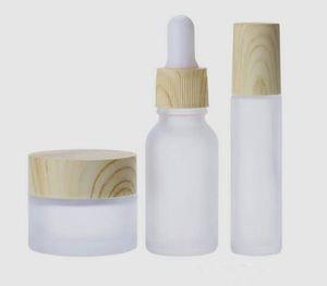vaporizador 50ml botellas vacías E Líquido de vidrio con gotero botella con líquido para niños de madera a prueba de tapas de botellas de grano labios E