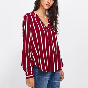 Womens Classic Wide Vertical Striped Long Sleeve Blouse Deep V-Neck Asymmetric Shirt Curved Hem Pullover Loose Office Jumper Top
