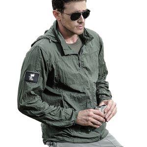 경량 방수 전술 자켓 남성 패턴 여름 통기성 얇은 후디 휴대용 윈드 육군 피부 재킷 크기 S-XXL를