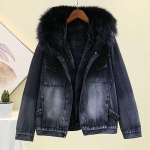 2019 New Winter Negre collo in pelliccia con cappuccio fodera in pile Giacca di jeans cappotto casuale delle donne spessore caldo rivestimento dei jeans delle donne Outwear