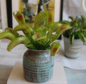 """9.5"""" Yapay Venüs Flytrap Bitki -Yeşil / Mor Pest Control Sahte Sulu Bitkiler Ev Dekorasyonu Görüntü Buket"""