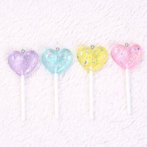 ewelry Accessori 12pcs 71 * 25mm multicolore Lollipop fascini di Flatback Glitter resina Candy Cabochons per orecchini Collana ...