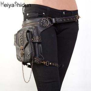 Cintura de couro fanny bag masculinas de punk embalar Motorcycle Leg pacote de cintura para as mulheres Coxa bolsa de cintura Crossbody bum peito Sacos Pouch heuptas