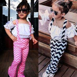 UK 2PCS bambini della neonata vestiti di estate Ruffle Top Pantaloni Ripple barrato Tuta Outfits estate della neonata copre gli insiemi 1-6Y