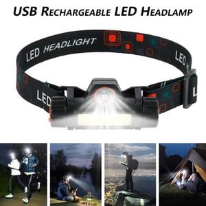 XPE + COB Led Farol Farol USB recarregável Luz principal de trabalho claro cabeça da tocha Camping farol do carro Inspecione
