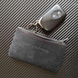 무광택 가죽 키 가방 지갑 키 케이스 커버 홀더 키 체인 메르세데스 벤츠에 대 한 AMG