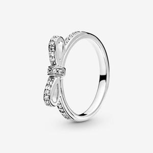 جديد تماما 925 فضة الكلاسيكية القوس الدائري تمهيد زركون زركون للنساء خواتم الزفاف الأزياء والمجوهرات
