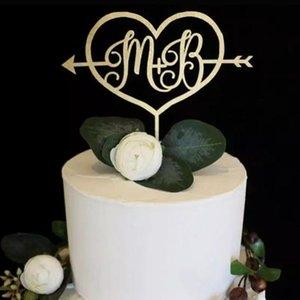 altın kek topper, baş harfleri topper, ok kek topper, Düğün özel kişiselleştirilmiş adı, gelin duş,