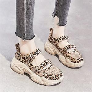 Summer Mesh Breathable Women Super Fire Leopard Female Platform Shoes Print Hollow Thick Bottom Casual Shoes