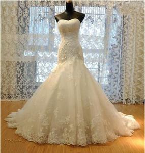 Свадебные платья Vestido de Noiva Sereia с аппликацией без рукавов Русалка свадебное платье без рукавов Дешевые длинные свадебное платье