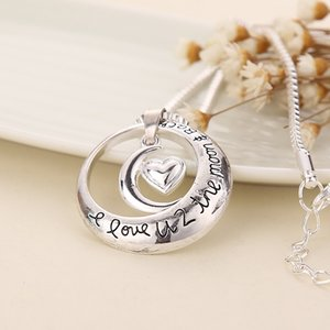 Father's Day I Love U 2 The Moon And Back Circle With Heart Pendant Necklace Couples Necklace Wholesale BHN66