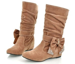 New Women Spring Autumn Bowtie Charming Height Increasing Wedges Boots Shoes Woman Mid-calf Boots Suede Leather EUR Size:35-43