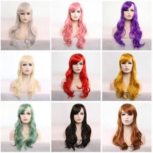 China Großhandel mehr Farbe Perücken europäischen und amerikanischen Animation Cosplay Haar Set 70cm langes lockiges Haar eine große Anzahl von Inventar