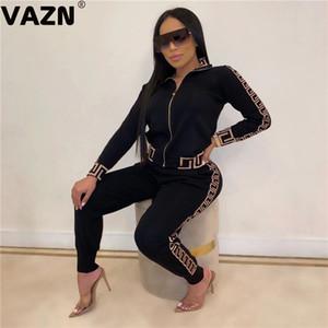 VAZN Outono Esporte V-neck listrado Sexy Confortável 2019 Set luva cheia 2 Parte Define Night Club Jovem Lady Esporte Define Y200110