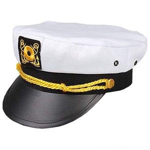 Denizci ShipHat Yat Tekne Şapkalar Şapkalar, eşarplar Eldiven Kaptan Hat Deniz Kuvvetleri Deniz Kuvvetleri Oramiral Beyaz Altın Düz Çatı Saha Cap Snapb Caps