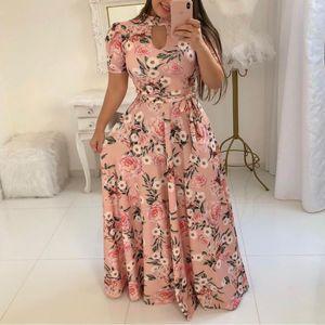 Tasarımcı Maxi Elbise Flora Baskılı Yaz Kısa Kollu Casual Elbise Kadın Plus Size Uzun Elbise Womens