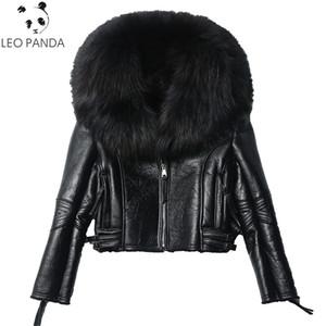 Abrigo de piel de oveja real de invierno para mujer Chaqueta de cuero de piel de oveja auténtica de moda genuina Abrigo de cuello de piel de mapache grande real natural