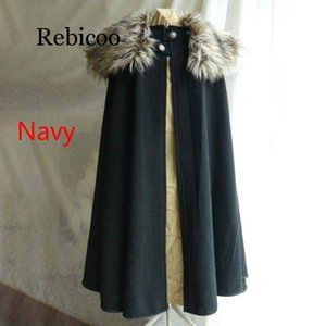 Medieval Fashion Celtic Viking Wool Cape Coat Vintage Ranger Coat Gothic Game of Thrones Style Fur Collar Cape Cloak High