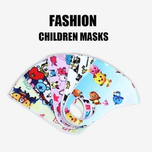 3 Pcs Moda lavável dos desenhos animados Crianças Boca Mask Rosto Crianças Máscaras Meninas poeira PM2.5 Outdoor Ambiente Boca Máscaras Respirador Facial