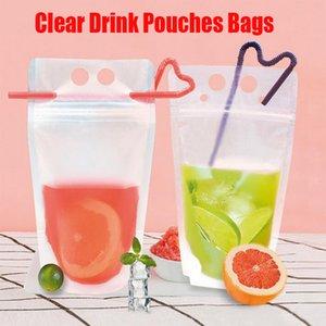 Claro bebida helada bolsos de las bolsas del jugo de la cremallera de pie de plástico de bebida sostenedor del bolso con la paja puede volver a cerrar calor a prueba de café líquido caliente 17oz