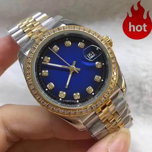 üst seviye Sıcak erkek ve kadın saatleri lüks elbise tasarımcısı moda 38MM mavi kadran takvim altın bilezik saatini toka izle katlanır
