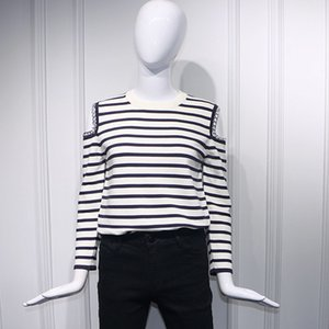 Brand Designer 2019 Fall Fashion Hollow Out Striped Off-the-shoulder Chain Women Thin Sweater Elegant O-neck Korean Clothes