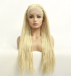 Mode haut de gamme à long cornrow Lace Front synthétique Tressé Perruques Micro Tresses avec bébé chaleur pour les cheveux résistants africain