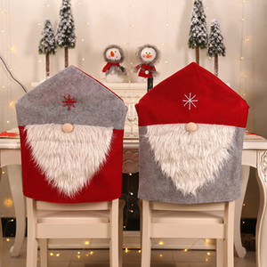 Chaise de Noël Couverture Père Noël chaise Housses de Chaises dîner Cap Ensembles Party de Noël Accueil Décorations de Noël