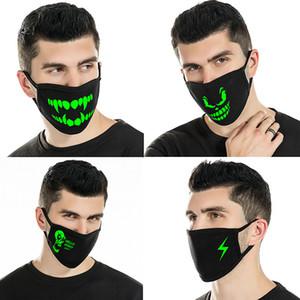 Дизайнер маску для лица маски для лица Luminous Skeleton езда Пары Анти-пылевой Мода Зубы Glow Рот маски Темной ночи Хэллоуина Косплей