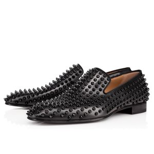 fashion designer mens shoes loafers black red spike Patent Leather Slip On Dress Wedding flats bottoms Shoe for Business Party size 39-47