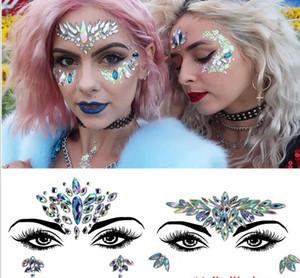 FREATHPING Respetuoso con el medio ambiente resina sirena cara rhinestone pegatinas carnaval cristal tatuaje pegatinas DIY diamante maquillaje