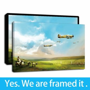 Framed Artwork Sky Graffiti Art of Aircraft Oil Paintings Grassland Herder HD Print on Canvas Wall Art Paintings Picture Poster Home Decor