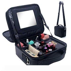Travel Makeup Bag Makeup Train Case 2 Layer Premium PU Leather Cosmetic Makeup Brush Organizer with Mirror Portable Storage Boxes Bag black