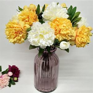 """Sahte Kısa Kök Melaleuca Şakayık (2 kafaları / adet) 21.26 """"Uzunluk Simülasyon Peonia Düğün Ev için Dekoratif Yapay Çiçekler"""