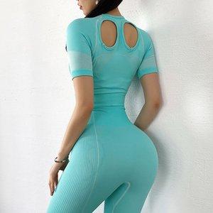 2020 New Yoga Set Women Stripe Sports Short Sleeve T Shirts+ Gym High Waist Seamless Running Leggings 2 Pcs Sports Suits
