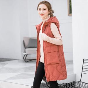 Kar PİNNACLE 2018 kış yelek kadın rahat Sonbahar sıcak kalınlaşmak uzun Kapşonlu kolsuz yelek büyük cep fermuar yelek ceket