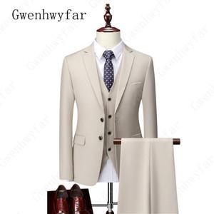3 Piezas Trajes Gwenhwyfar para hombres tamaño estándar S-5XL Terno Masculino Slim Fit boda del novio formal de los hombres traje (chaqueta + pant + vest)