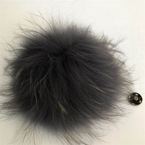 "15cm 6""-Dark Grey Soft Real Genuine Raccoon Fur Pompom Ball W Button On Hat Bag Charm Key Chain Keyring DIY Accessories"